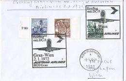 BRIEFMARKEN ERSTTAG ERSTFLUG DOUGLAS DC-9   GRAZ-WIEN AUSTRIEN AIRLINES 1972 RETURN - Airplanes