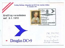 BRIEFMARKEN ERSTTAG ERSTFLUG DOUGLAS DC-9   SALZBURG-KLAGENFURT AUSTRIEN AIRLINES 1972 RETURN - Airplanes