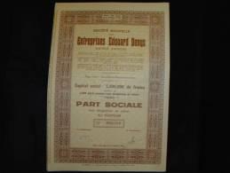 """Part Sociale""""Entreprises Edouard Denys""""Saint Denis-Westrem-lez-Gand Excellent état,avec Tous Les Coupons - Industrie"""