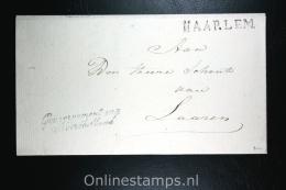 Nederland: Cover Naamstempel Haarlem , Gouvernement Noordholland, Naar Laaren - Niederlande