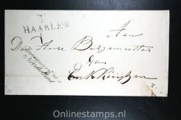 Nederland: Cover Naamstempel Haarlem Naar Enkhuizen , 1815, Gouvernement Van Noordholland - ...-1852 Vorläufer