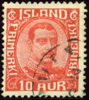 Iceland  Scott# 115, Christian X, 10 Aurar Red, Very Fine Used Stamp - Used Stamps
