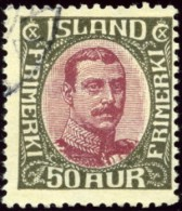 Iceland Scott# 125, Christian X, 50 Aurar Claret And Grey, Fine Used Stamp - Used Stamps