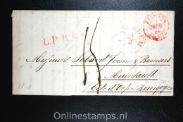 Nederland:brief  Haarlem Naar Meursault (RRR) Frankrijk, 1848, Diverse Mooie Stempels. - Nederland