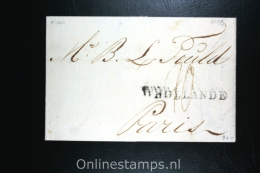 Nederland:brief  Naamstempel D´Hollande, Amsterdam Naar Parijs 1788 - Niederlande