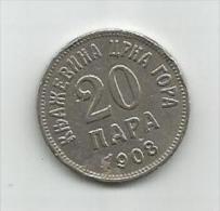 Montenegro 20  Para  1908. KM#4 - Joegoslavië