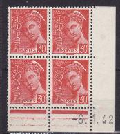 FRANCE N° 412 30C ROUGE TYPE MERCURE LEGENDE REPUBLIQUE FRANCAISE COIN DATE DU 6.1.1942 NEUF SANS CHARNIERE - Coins Datés