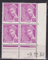 FRANCE N° 410 20C LILAS TYPE MERCURE LEGENDE REPUBLIQUE FRANCAISE COIN DATE DU 9.12.1938 NEUF SANS CHARNIERE - 1940-1949