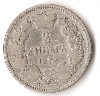 SERBIE  2  DINARA 1879 ARGENT  RARE ! - Serbia