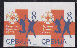 2091. Serbia, 2006, Red Cross Surcharge, Imperforated In Pair, MNH (**) - Serbia