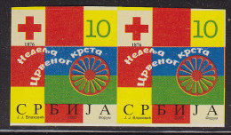 2106. Serbia, 2007, Red Cross Surcharge, Imperforated In Pair, MNH (**) - Serbia