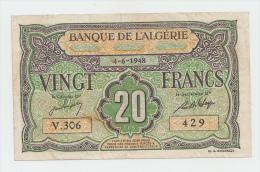 ALGERIA 20 FRANCS 1948 VF+ P 103 - Algeria