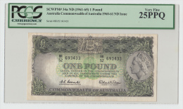 Australia 1 Pound 1961 - 1965 (Coombs Wilson) VF PCGS 25 PPQ P 34a  34 A - Pre-decimal Government Issues 1913-1965