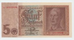 Germany 5 Reichsmark 1942 XF++ AUNC WWII P 186 - 5 Reichsmark