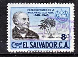 El Salvador  586    (o)   SIR  ROLAND  HILL - El Salvador