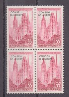 FRANCE / 1958 / Y&T N° Service 16 ** (4 TP) : Conseil De L´Europe (Cath. Rouen Surchargé CE) - Gomme D´origine Intacte - Dienstpost