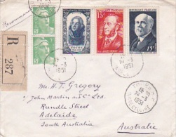 France 1951 Registered Cover To Australia - Used Stamps
