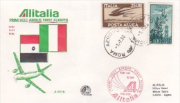 Italy 1980 Alitalia First Flight Cover Rome-Cairo By Airbus Souvenir Cover - Italy