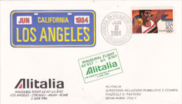 Italy 1984 Alitalia First Flight Cover Los Angeles -Rome By B747 Souvenir Cover - Italy