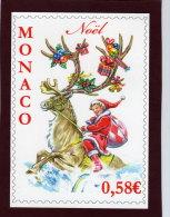 MONACO . Carte  NOEL  2010 - Enfant Chevauchant Un Renne - Weihnachten