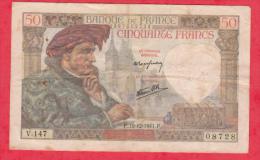 France 1 Billet Du 18/12/1941 état - 50 F 1940-1942 ''Jacques Coeur''