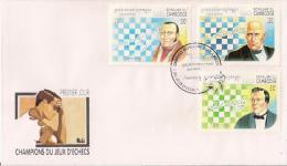 """Cachet 1ier Jour Sur Lettre """"ROYAUME DU CAMBODGE / CHAMPIONS DU JEU D´ECHECS"""" Labourdonnais, Andersen, Murphy 20/9/1994 - Cambodja"""