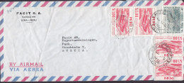 Peu Airmail Via Aerea Mult Franked FACIT S. A., LIMA 19?? Cover Letra To STOCKHOLM Sweden - Peru