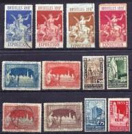LOT DE 12  VIGNETTES DE BELGIQUE- EXPOSITION 1897 ET 1935- NEUVES ET OBLITÉRÉES- DES ADHÉRENCES AU VERSO- - Erinnophilie