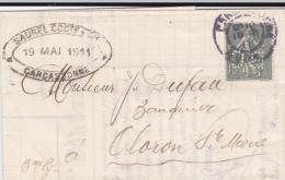 1911 - SEMEUSE PERFORE B.C (BANQUE COMMERCIALE De L´AUDE SAUREL,COSTE Et Cie) Sur LETTRE De CARCASSONNE Pour OLORON - France