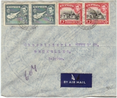 02117 Chypre/Cyprus Famaguste 1947 PA/airmail V.Chocolaterie ´´Cote D´Or´´ - Chypre (...-1960)