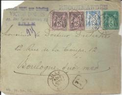 Devant De Lettre - Sage N° 97 X 2 - 90 - 75  LILLE 20 JANV 93 - 1877-1920: Période Semi Moderne