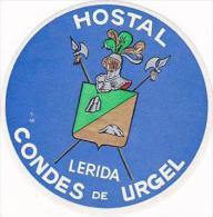SPAIN LERIDA HOSTAL CONDES DE URGEL VINTAGE LUGGAGE LABEL - Hotel Labels