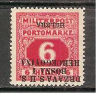 Bosnia SHS Jugoslawien Yugoslavia Mi.Porto 4K - Mint / * 1918 Inverted Overprint! - Portomarken
