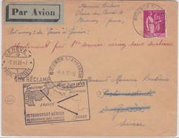 1938 - ENVELOPPE Par AVION De BRIENON (YONNE) Pour GENEVE - 1° VOL FRANCE-SUISSE SANS SURTAXE - Poste Aérienne