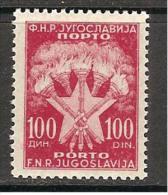 Jugoslawien / Yugoslavia / Yougoslavie - Mi.Porto 107 With Plate Flaw - MNH / ** 1952 - Portomarken
