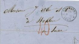 426/21 - Lettre Non Affranchie - Cachet De Distribution à Etoiles ROCLENGE 1861 Vers WOHLEN Suisse - Taxation 40 Rouge - Belgium