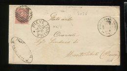 1879 RARA COLLETTORIA  DA   PIEVE  TORINA MACERATA   X MONTELIBRETTI  ROMA - 1861-78 Vittorio Emanuele II