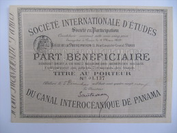 1 Titre Au Porteur - Société Internationale D´Etudes Du Canal Interocéanique De Panama - Actions & Titres