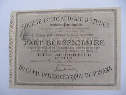 1 Titre Au Porteur - Société Internationale D´Etudes Du Canal Interocéanique De Panama - Autres