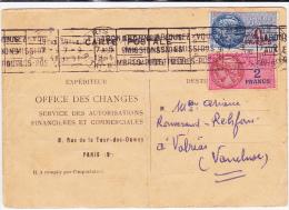 1951 - CARTE ACCUSE DE RECEPTION DEMANDE DE LICENCE D´IMPORTATION AFFRANCHIE Avec TIMBRES FISCAUX (RARE) Pour VALREAS - Marcophilie (Lettres)
