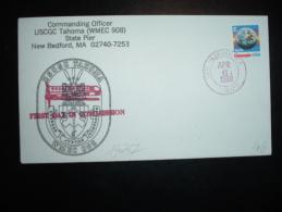 LETTRE TP E EARTH OBL. ROUGE APR 6 1988 NEW BEDFORD + USCGC TAHOMA (WMEC-908) + COMMANDING OFFICER + ILLUSTRATION - Postal History