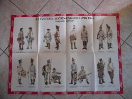 MANIFESTO UNIFORMI LA FANTERIA AUSTRO UNGARICA(1708-1866)REGGIMENTI AUSTRIACI  ANNI 70 - Altri