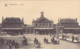 59 - Dunkerque - La Gare (animée, Tramway, Attelages) - Dunkerque