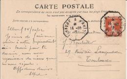 CACHET  AMBULANT OCTOGONAL LE HAVRE A PARIS 1912, Sur Cpa  ELBOEUF  G. B. 23 LA RIGOLE. - Marcophilie (Lettres)