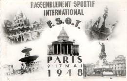 RASSEMBLEMENT SPORTIF INTERNATIONAL - F.S.G.T. - PARIS - 9/17 MAI 1948 - BELLE CARTE SEMI-MODERNE DENTELEE -2 SCANS - TO - Cartes Postales