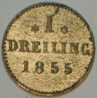 HAMBOURG DREILING BILLON 0.5 GR 1855 SUPERBE - Piccole Monete & Altre Suddivisioni