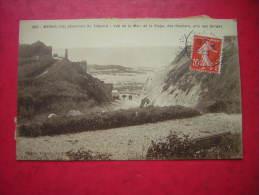 CPA 76  MESNIL VAL ENVIRONS DU TREPORT VUE DE LA MER DE LA PLAGE DES ROCHERS PRIS DES GORGES     VOYAGEE 1914 TIMBRE - Mesnil-Val