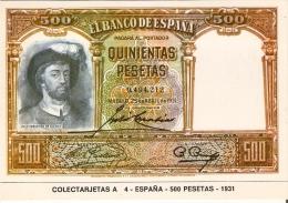 POSTAL DE ESPAÑA DE UN BILLETE DE 500 PTAS DEL AÑO 1931 (BANKNOTE) - Monedas (representaciones)