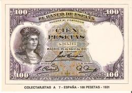 POSTAL DE ESPAÑA DE UN BILLETE DE 100 PTAS DEL AÑO 1931 (BANKNOTE) - Monedas (representaciones)