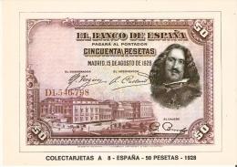 POSTAL DE ESPAÑA DE UN BILLETE DE 50 PTAS DEL AÑO 1928 (BANKNOTE) - Monedas (representaciones)